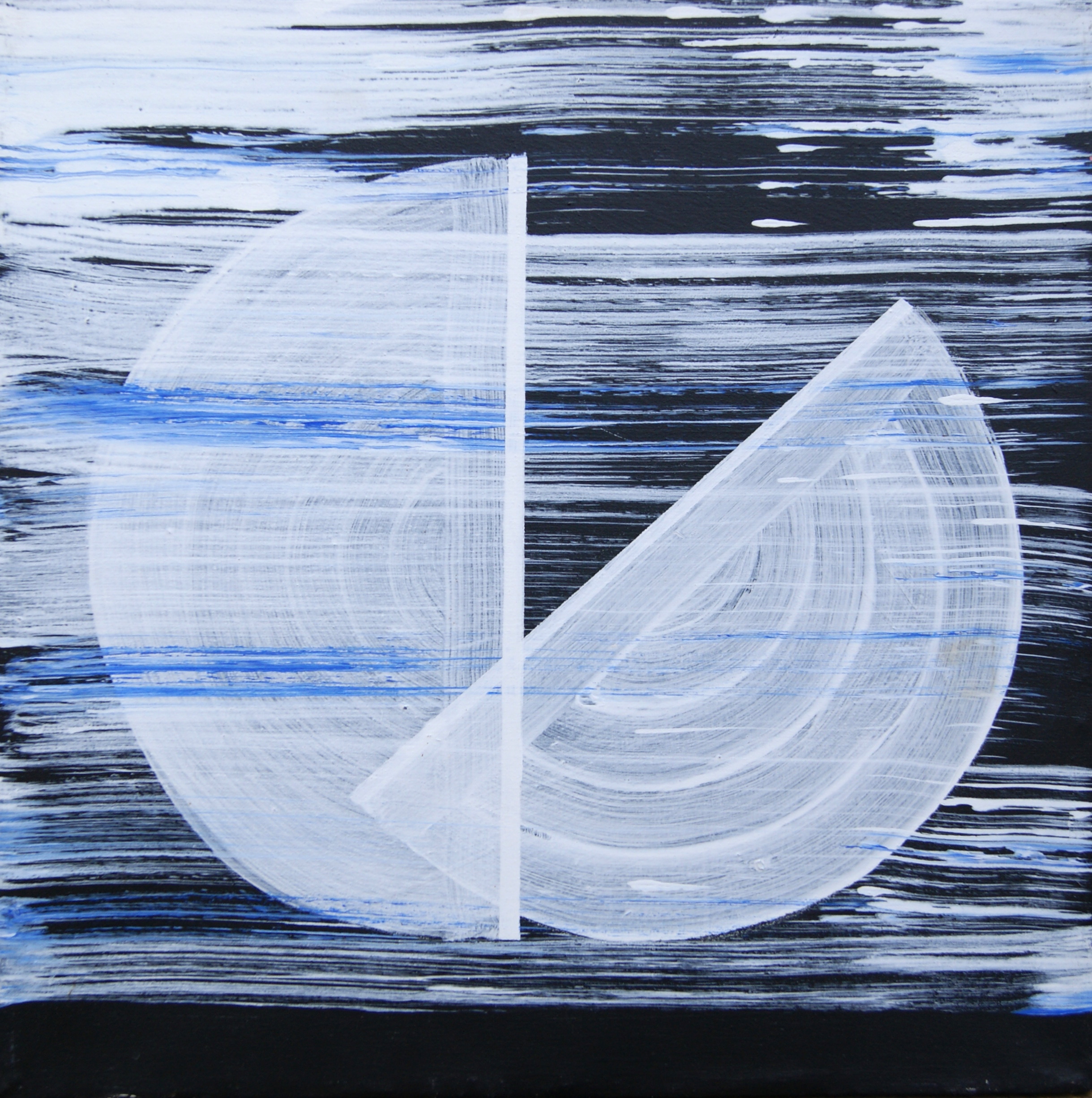 Twee helften, 1995, 50x50 cm, acryl op katoen